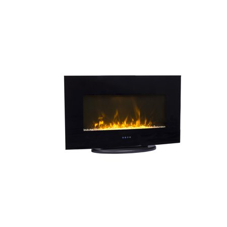 Decor Flame 35inch Wallmount Fireplace With Stand Black