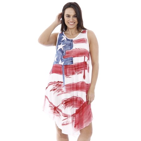 American Flag Dress / Summer Dresses / Swimsuit Cover Up (Red White & Blue  Flag, One Size Plus Size)