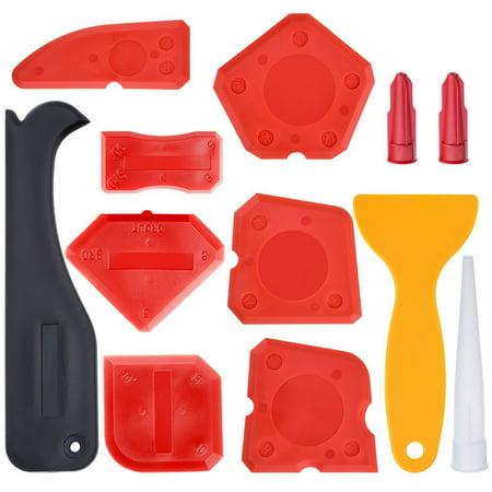 Adhesive Caulk Remover - 12 Pieces Caulking Tool Kit Silicone Sealant Finishing Tool Grout Scraper Caulk Remover and Caulk Nozzle and Caulk Caps (Red)