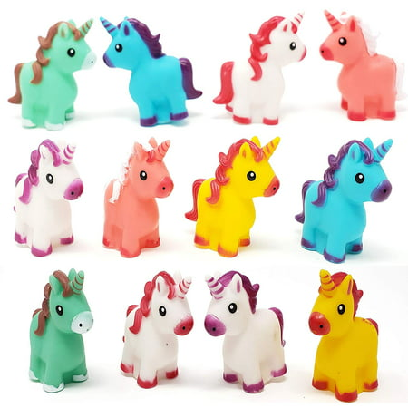 Funlop Colorful Unicorns (12-Pack) Bright Colors, for Unicorn Themed Birthday Party Favors, Goodie Bag, Pinata Filler, Squeezable & Squirtable for Kids Bath Time Play](Themed Birthday Party Ideas)