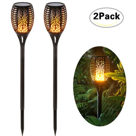 Loryro Solar torch lights Solar Lights Dancing Flames LED Waterproof Wireless Flickering Torches Lantern Outdoor for Garden Patio Yard (2 pack) ()