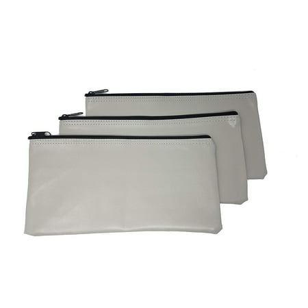 Bank Deposit Bag - 3 Piece Set PM Company Security Bank Deposit Bag / Utility Zipper Coin Bag / Pouch Safe Money Organizer Bag / 11 X 5.5 Inches (FREE RETURN) (BANK BAG-PACK OF 3 - Grey)