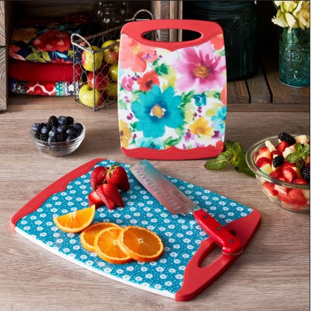 The Pioneer Woman Breezy Blossoms Nonslip Cutting Board Set, 2 Pieces Colour Coded Chopping Board