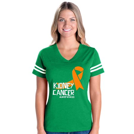 Kidney Cancer Awareness Womens V-Neck Fine Jersey Tee