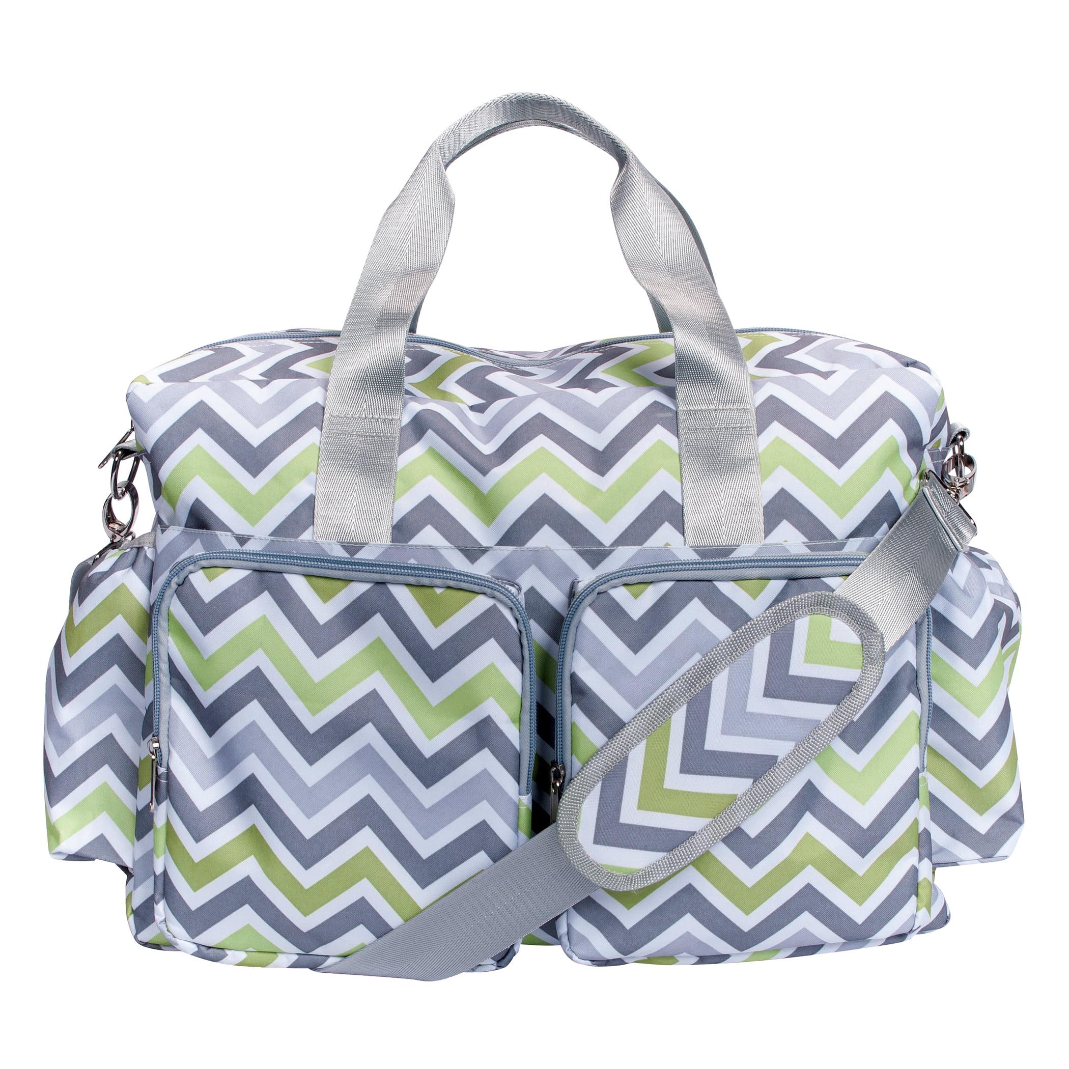 Trend Lab Green, Gray & White Chevron Deluxe Duffle Diaper Bag