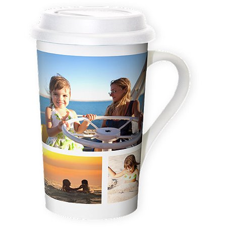 Premium Grande Photo Mug with Lid, 16 oz