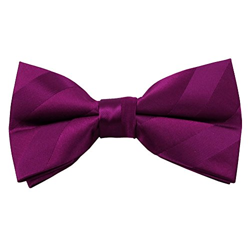 Plum Solid Color Tonal Stripe Clip on Bow Ties