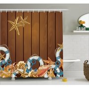 Shower Curtain Set  Seashells Anchors Starfish on Wooden Backdrop Nautical  Elements Icon Sea Theme Seashell Bathroom Decor. Seashell Bathroom Decor. Home Design Ideas