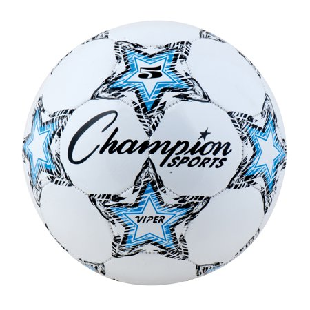 Champion Sports Viper Soccer Ball, Size 5, Black, Blue and White - Soccer Ball Glow In The Dark