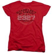 Trevco Star Trek-Picard Graduation - Short Sleeve Womens Tee - Red, Large