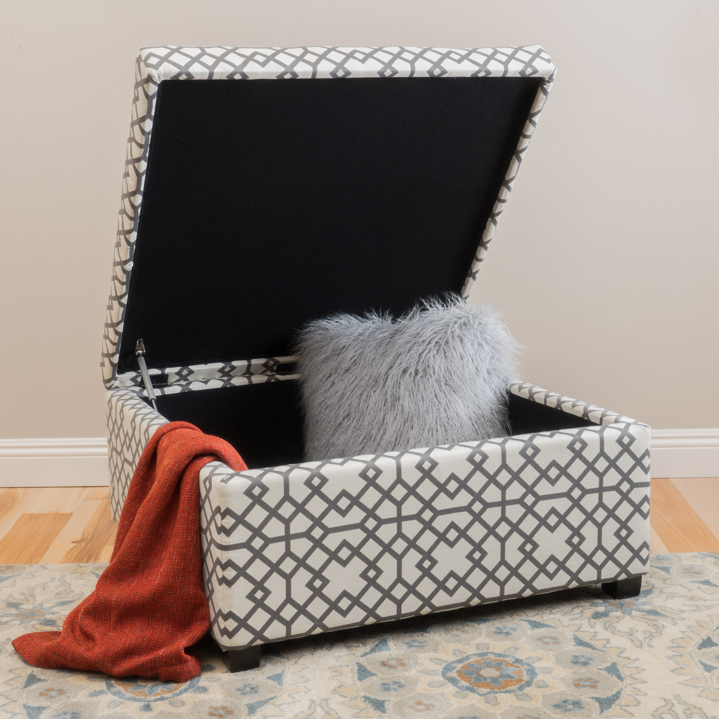 Ottomans Lucia Storage Chest Grey Fabric: Noble House Bessley Patterned Fabric Storage Ottoman, Grey