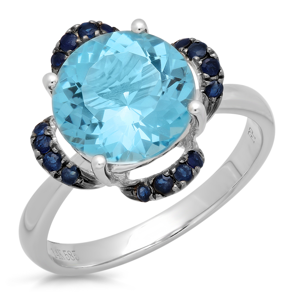 14K WHITE GOLD 4.10CTW BLUE TOPAZ AND SAPPHIRE RING by