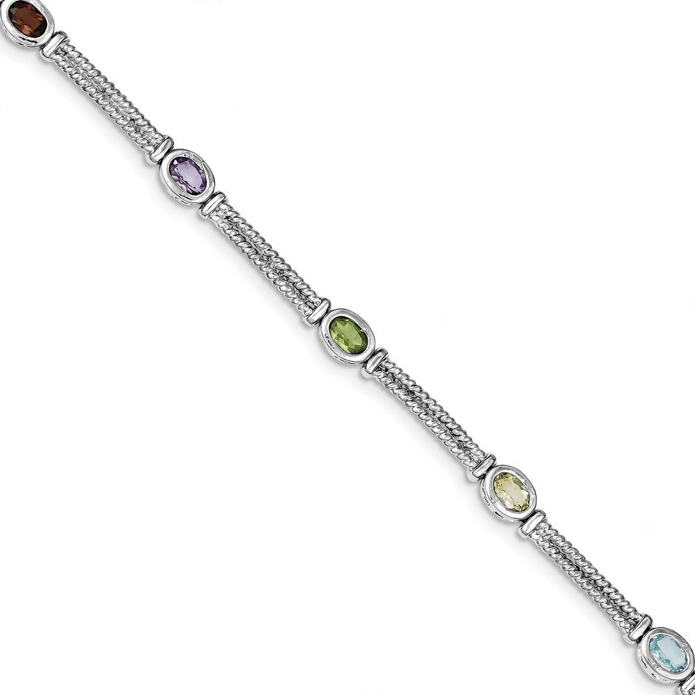 Sterling Silver Multi-Color Semi-Precious Bracelet