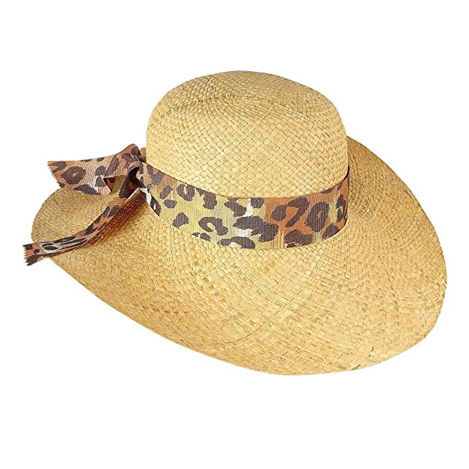 Aqua Women's Grosgrain Trim Floppy Straw Hat
