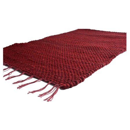 Eco India Handmade Prairie Rugs 3 X 5 Wool Cotton Dhurrie Rug Ruby