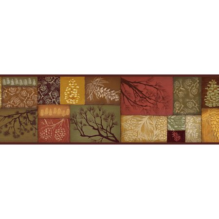 (Brewster Home Fashions Borders by Chesapeake Monde Pinecone Branch Collage 15' x 6'' Botanical 3D Embossed Border Wallpaper)