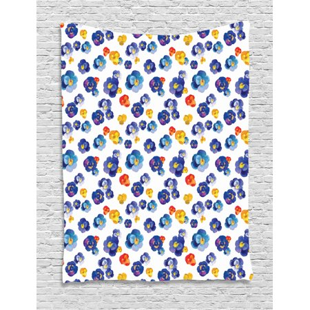 Flower Tapestry, Nature Botanic Design Colored Violet Floral Tiny Flowers Art Print, Wall Hanging for Bedroom Living Room Dorm Decor, Dark Blue and Yellow Orange, by Ambesonne ()