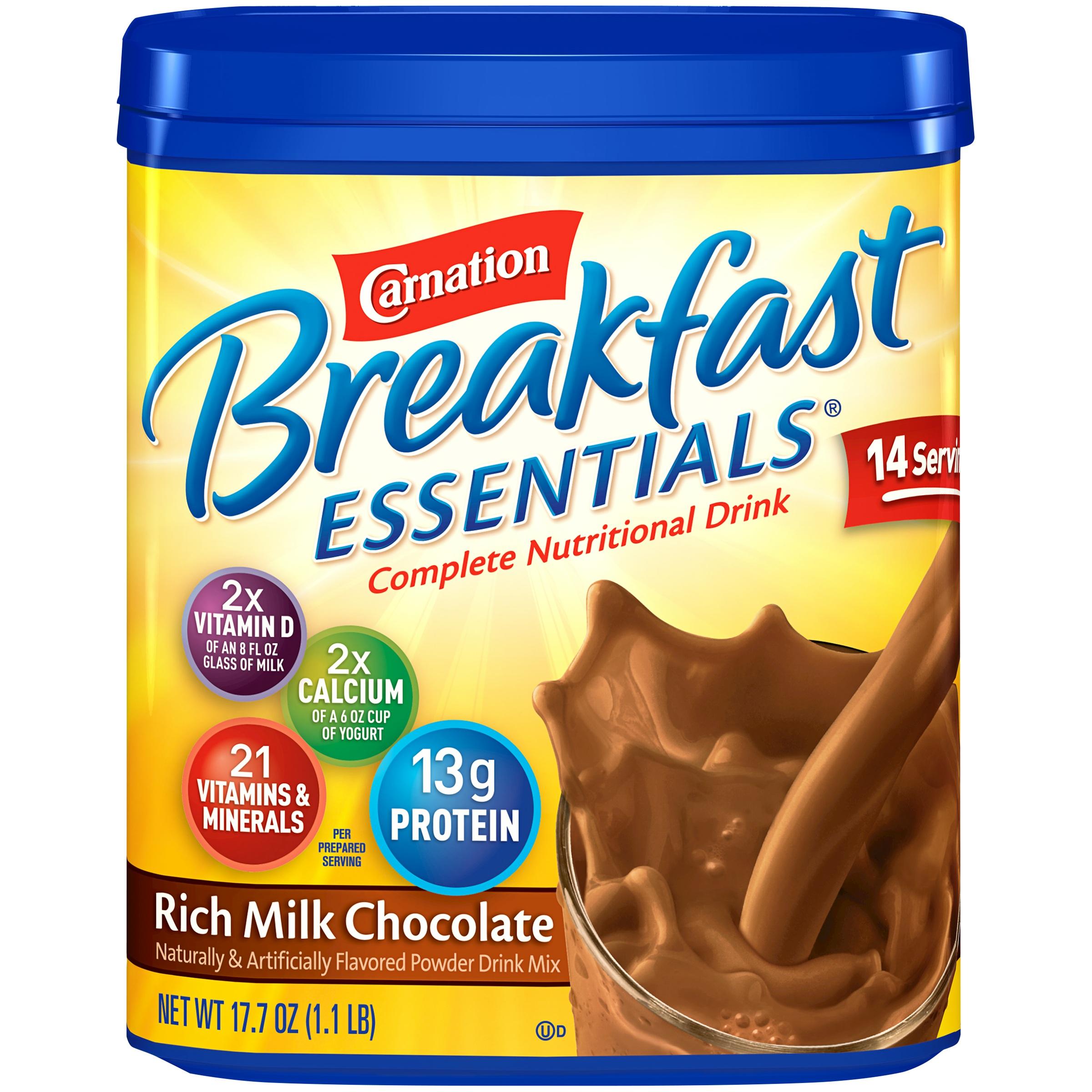 Carnation Breakfast Essentials Powder Drink Mix, Rich Milk Chocolate, 17.7 oz Canister