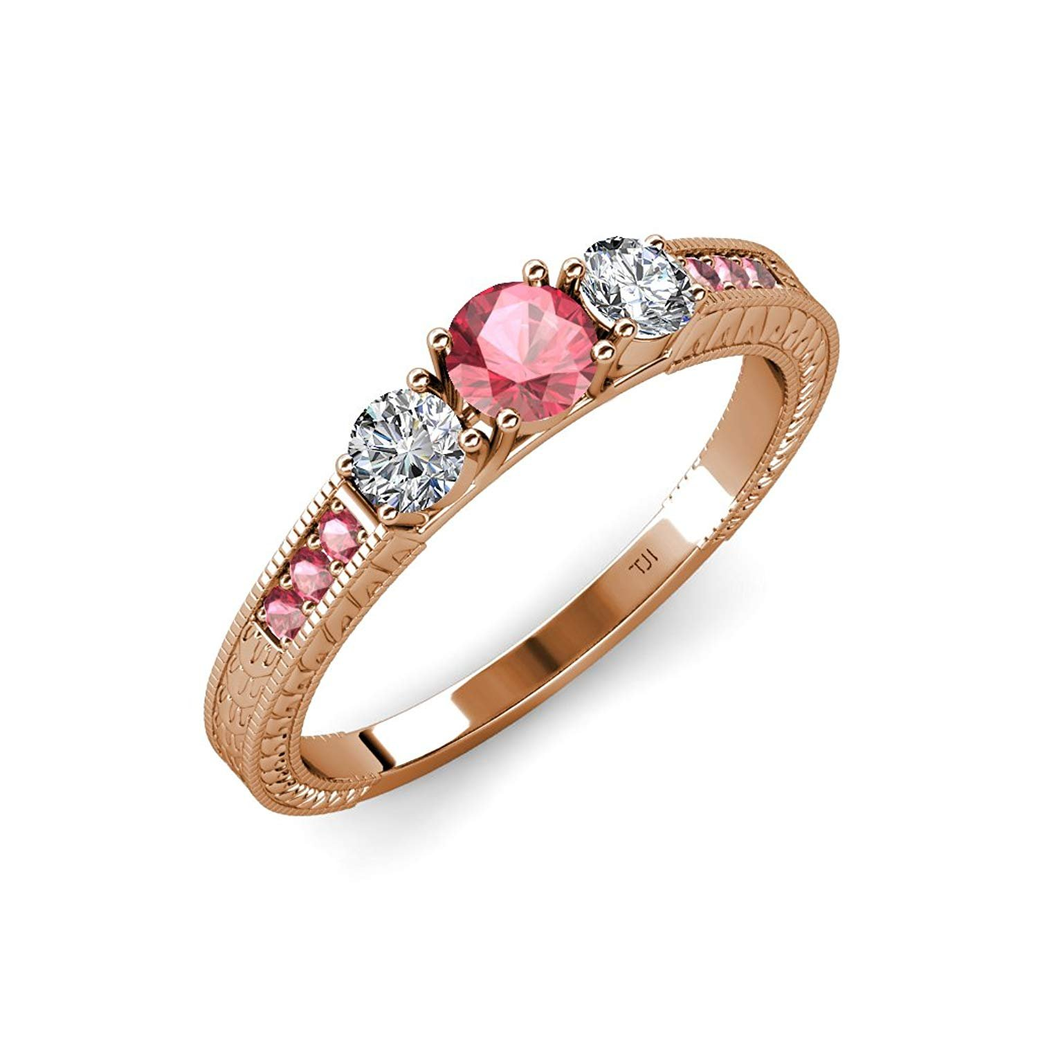 Pink Tourmaline and Diamond 3 Stone Ring with Side Pink Tourmaline 0.85 ct tw 14K Rose Gold.size 6.0 by TriJewels