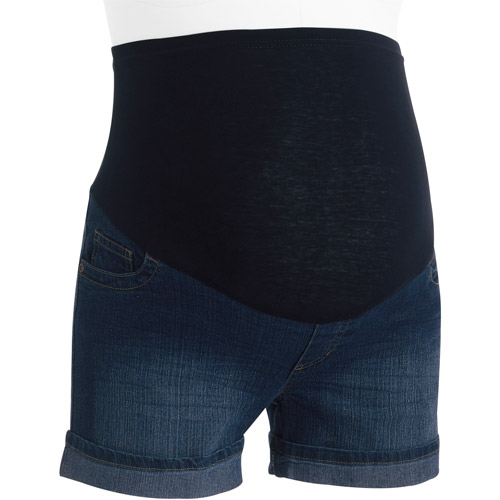 Oh! Mamma Maternity Full-Panel Cuffed Denim Shorts with Crinkle Details