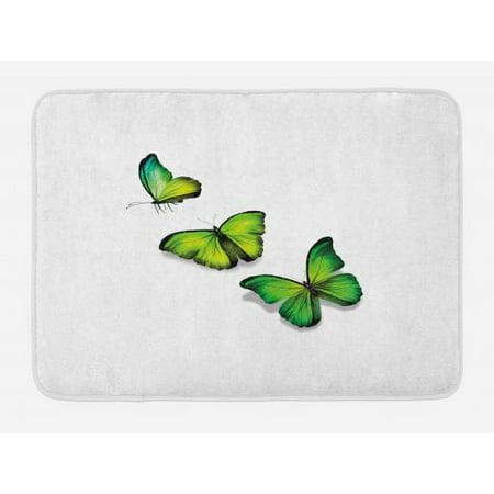Green Bath Mat, Three Vibrant Butterflies on White Backdrop Magical Spring Nature, Non-Slip Plush Mat Bathroom Kitchen Laundry Room Decor, 29.5 X 17.5 Inches, Lime Green Fern Green Black,