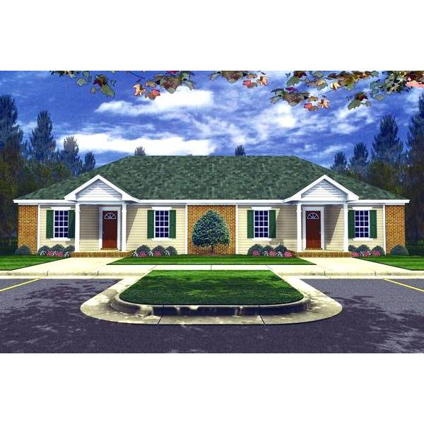 TheHouseDesigners-7080 Southern House Plan with Slab Foundation (5 Printed Sets)