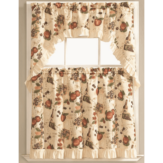 Kitchen Curtain Fruit Swag: Fruit Orchard Complete 3 Pc. Kitchen Curtain Tier & Swag