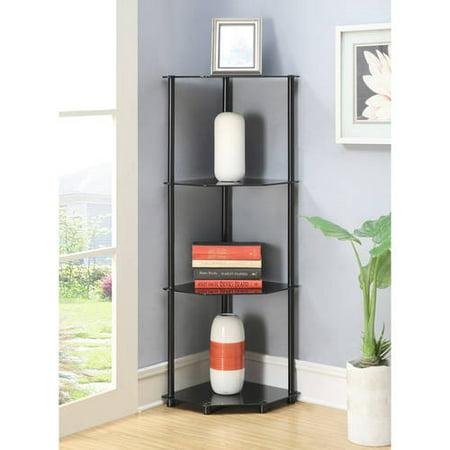Convenience Concepts Designs2Go No Tools 4 Tier Corner Shelf, Black Glass