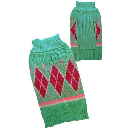 Argyle Turtleneck Dog Sweater, Green/Pink, Medium