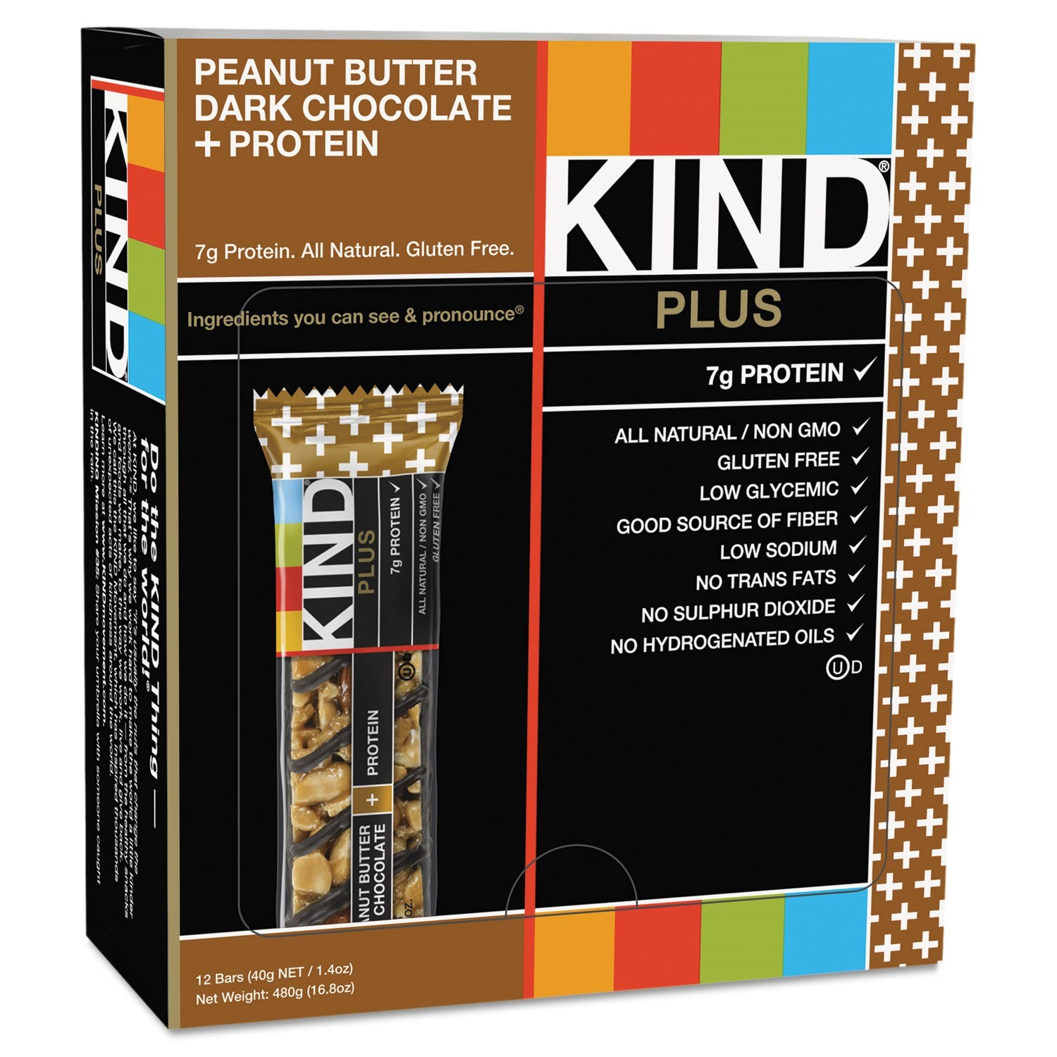 KIND Plus Nutrition Boost Bar, Peanut Butter Dark Chocolate/Protein, 1.4 oz, 12/Box