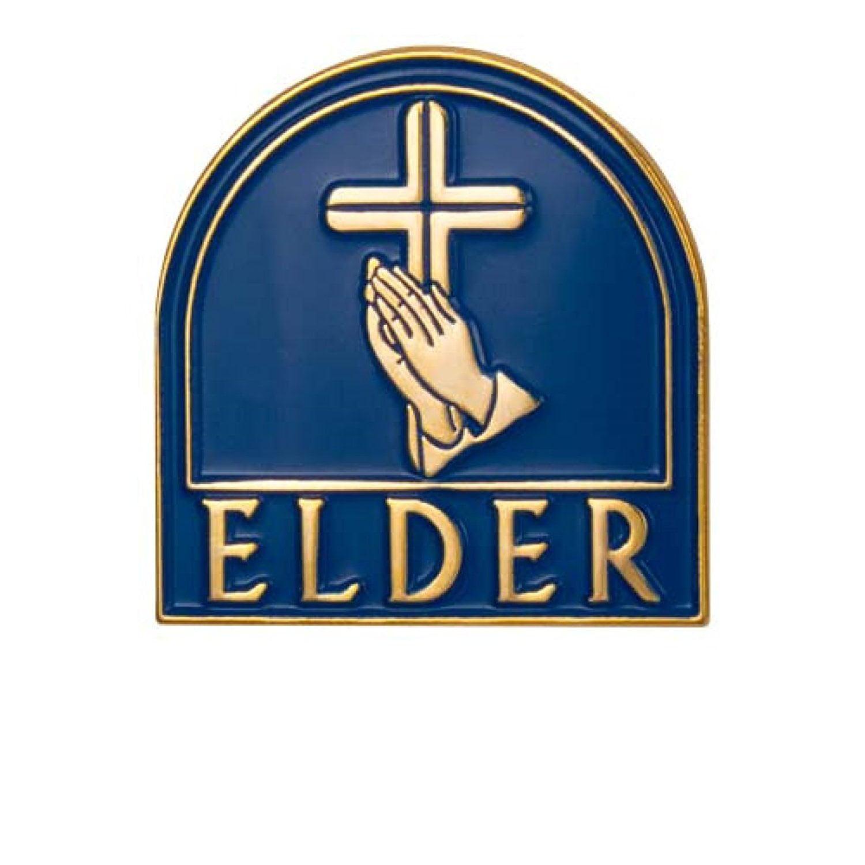 Church Elder Gold Blue Magnetic Back Pin