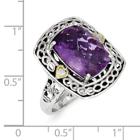 Sterling Silver Two Tone Silver And Gold Plated Sterling Silver w/Diamond & Amethyst Ring - image 2 de 3