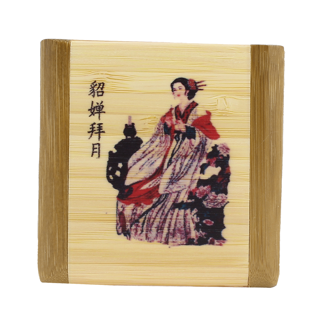 Lady Double Side Beauty Girl Printed Bamboo Frame Mini Makeup Cosmetic Mirror