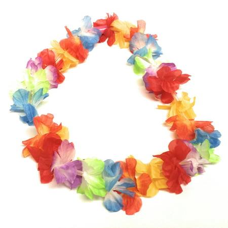 Tropical Haze Night Flashing LED Light-Up Summer Luau Flower Lei, Rainbow, 36in