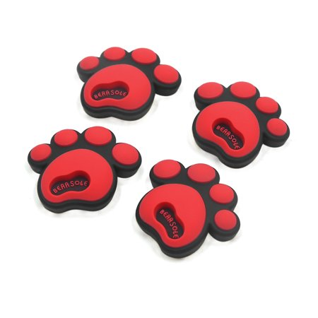 4Pcs Red Rubber Car Dog Footprint Type Door Window Decoration Sticker Decal ()