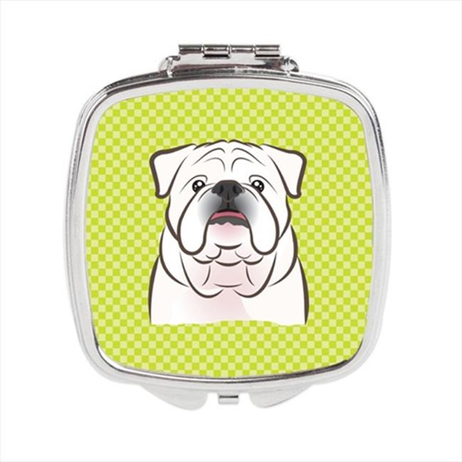Carolines Treasures BB1282SCM Checkerboard Lime Green White English Bulldog Compact Mirror, 2. 75 x 3 x . 3 inch