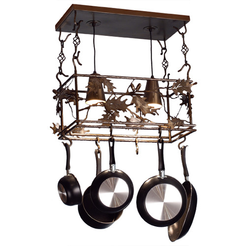Meyda Tiffany Leaf and Acorn Pot Rack