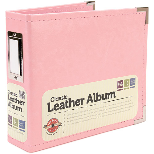 American Crafts - We R Memory Keepers Classic Leather Ring Album - Pretty Pink, 6 x 6