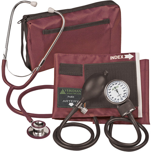 ProKit Adult Combo Aneroid Sphygmomanometer with Dual-Head Stethoscope, Burgundy, 1ct