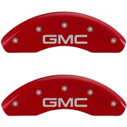 MGP 4 Caliper Covers Engraved Front & Rear GMC Red finish silver ch