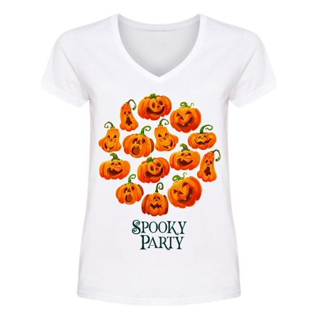 Halloween Spooky Party Pumpkin V Neck Women's -Image by Shutterstock