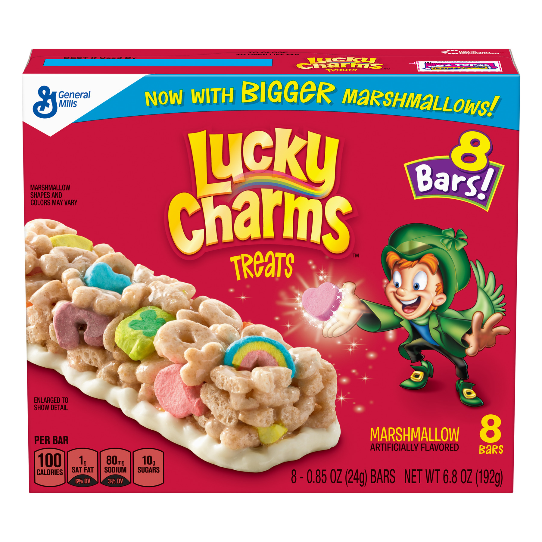 (3 pack) Lucky Charms Marshmallow Treats, 8 Cereal Bars, 6.8 oz Box