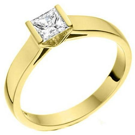 14k Yellow Gold 1 Carat Solitaire Princess Cut Diamond Engagement Ring