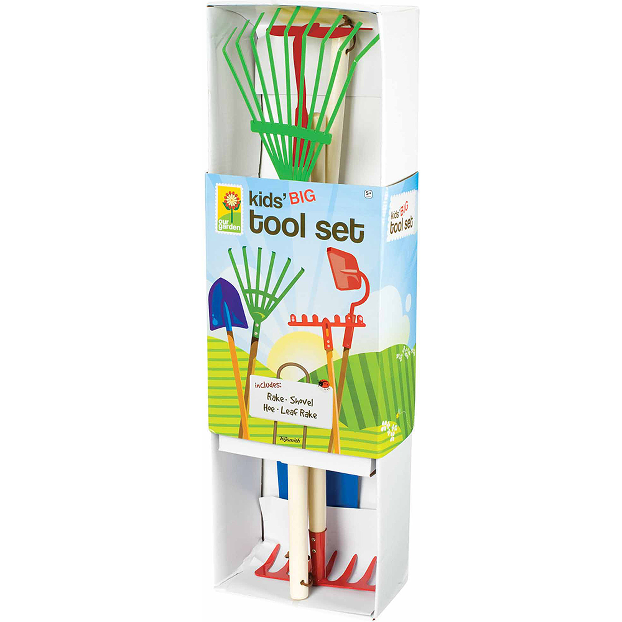 Toysmith Kids Garden Tool Set- Garden Rake, Spade, Hoe and Leaf Rake