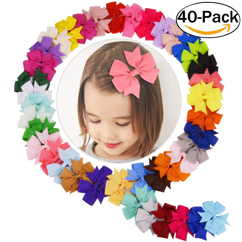 Zara baby hair accessories - Coxeer 40pcs Ribbon Hair Bows Clips Hairpin Hair Accessories For Baby Girls Kids Teens Toddlers Children