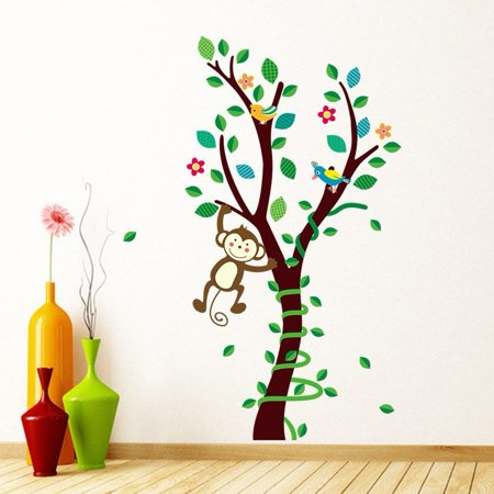 Jungle Monkey Swinging on Tree Wall Stickers Wall Decal Vinyl Removable Art Wall Decals for Girls and Boys Nursery Room Children's Bedroom