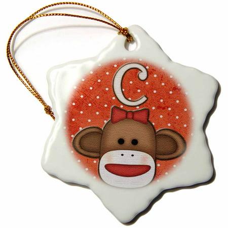 3dRose Cute Sock Monkey Girl Initial Letter C, Snowflake Ornament, Porcelain, 3-inch
