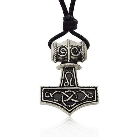 Hammer Of Thor Mjolnir Silver Pewter Charm Necklace Pendant Jewelry With Cotton Cord