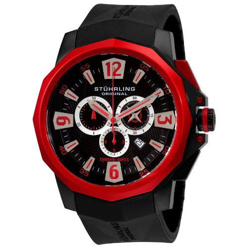 Stuhrling Original Men's 300.332T664 Admiral Swiss Quartz Chronograph Red Bezel Watch