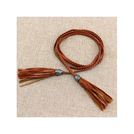 MAXSUN Women Fringe Leather Thin Waist Belt Dress Strap Tassel Chain Clothing Accessories ()